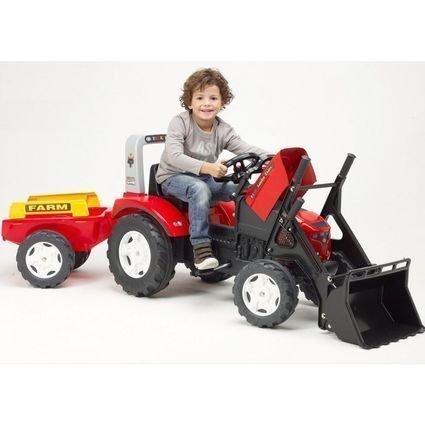 FALK Трактор-экскаватор педальный с прицепом красный  (размер 225х60х69см, от 3х лет)