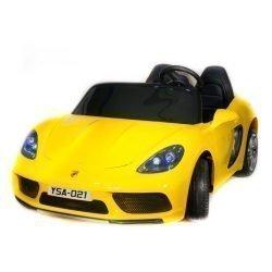 Электромобиль Porshe Cayman YSA021 желтый (кресло кожа, колеса резина, пульт, музыка)