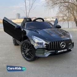 Электромобиль Mercedes Benz GT O008OO черный (колеса резина, кресло кожа, пульт, музыка)